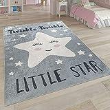Paco Home Kinderteppich, Waschbarer Kinderzimmer Teppich m. Stern, Mond u. Karo Motiven, Grösse:120x160 cm, Farbe:Grau 3