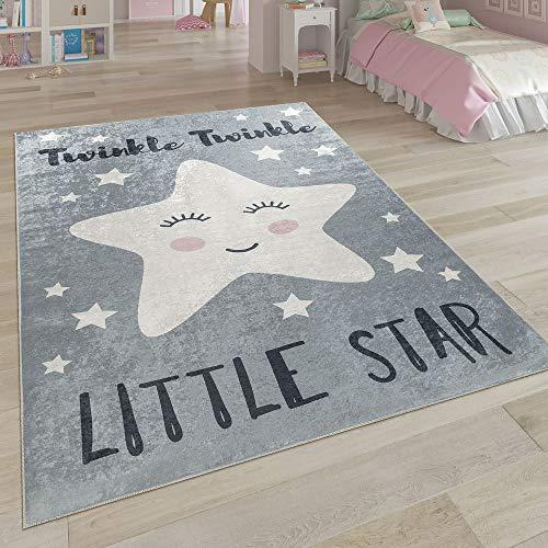 Paco Home Kinderteppich, Waschbarer Kinderzimmer Teppich m. Stern, Mond u. Karo Motiven, Grösse:80x150 cm, Farbe:Grau 3