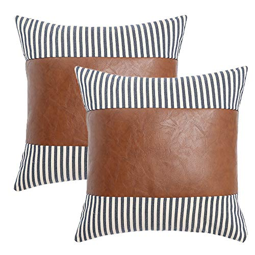 Kiuree Faux Leather Throw Pillow Covers Set of 2 Neutral Ticking Stripe Pillow Covers 20x20 Boho Modern Farmhouse Decorative Pillows for Bed Couch Accent Pillows(Navy Blue)