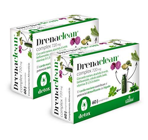 NATURE ESSENTIAL | Drenaclean® 720 mg 60 Comprimidos con Cardo Mariano, alcachofa, bioflavonoides, té Verde, cola de caballo, Boldo, Vitamina B-2, B-1 y Biotina. (Pack 2 unid.)