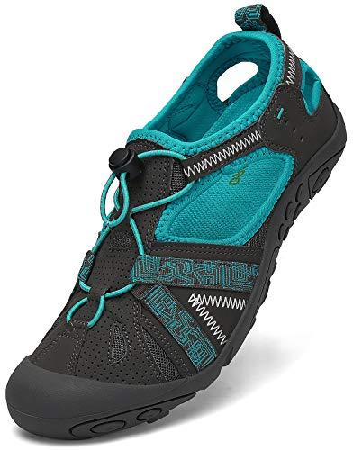 SAGUARO Geschlossene Sandalen Damen Outdoorsandalen rutschfest Atmungsaktive Trekkingsandalen Frauen Wandersandalen Blau Gr.41 Bitte eine Größe Kleiner kaufen
