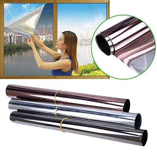 Reflektierende Fensterfolie, Einweg-Spiegelfolie, Hitzekontrolle, Sonnenreflektierend, Sichtschutzfolie, Sichtschutz, Glas, Tönung, Selbstklebend, Solarsteuerung, grau, 50x300cm