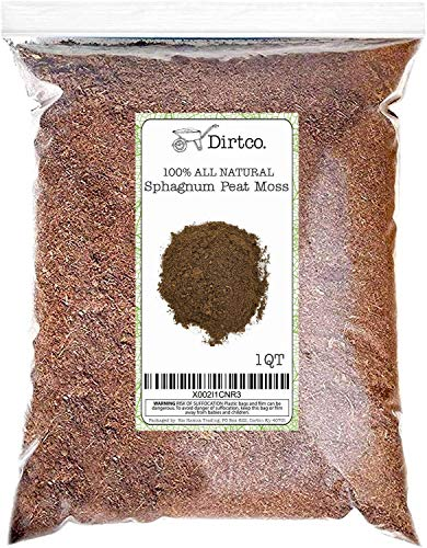 Natural Sphagnum Peat Moss, 1qt Size Bag, Gardening Soil Amendment and Carnivorous Plant Soil Media