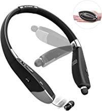 Bluetooth Headphones 5.0, Triple Foldable Wireless Neckband Headset with Retractable Earbuds Hands-Free Earphones Stereo Sound Hair Protection Belt for Cell Phones Running Cycling (14H Playtime)