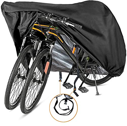 Szblnsm Bike Cover for 2 or 3 Bikes - Outdoor Waterproof Bicycle Covers - 420D Heavy Duty Ripstop Material Offers Constant Protection for All Types of Bicycles All Through The 4 Seasons