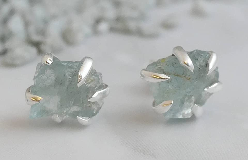 Raw Aquamarine Sterling Silver Stud Earrings - Gemstone Jewelry Gift Ideas for Women