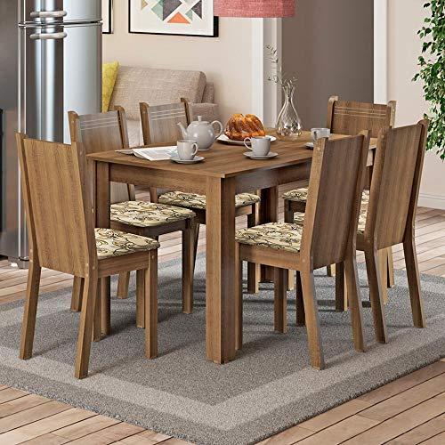 Conjunto Sala de Jantar Mesa e 6 Cadeiras Maris Madesa Rustic/Lirio Bege