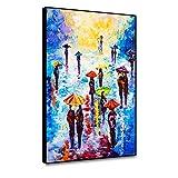 Canessioa Rain Day Canvas Framed Wall Art 12x18inch Colorful Umbrellas Pedestrians Prints Abstract Landspace Artwork City Rain Romance Scenery Oil Painting Bedroom Bathroom Office Studio Wall Decor