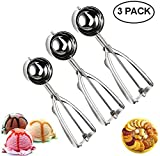 Cookie Scoop Set,JSDOIN Ice Cream Scoop Set, 3 PCS 18/8 Stainless Steel Ice Cream Scoop Trigger Include Large-Medium-Small Size, Melon Scoop (cookie scoop)