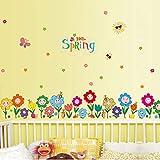 Pegatinas De Pared PISKLIU Baseboard extraíble Flores de primavera Pegatinas de pared de vinilo a prueba de agua Decoración para el hogar Niños Faldones Sala de estar Dormitorio Mural Tatuajes de arte