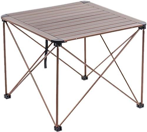 Tu satisfacción es nuestro objetivo ZHAO YING YING YING Barbacoa Mesa de Picnic Al Aire Libre Aleación de Aluminio Ultraligero Mesa Plegable Paquete portátil (Color   oro, Tamaño   L)  Envío 100% gratuito