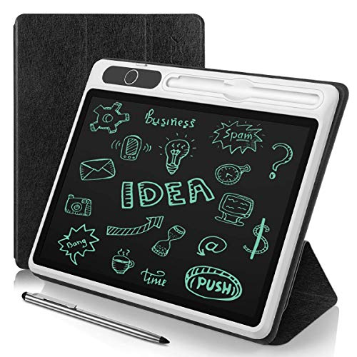 AGPTEK Tablette d'Écriture LCD 10,1 Pouces, Ardoise Magique avec Etui de Protection Portable Idéal pour Etudiants Adultes Prof, Ardoise Numérique avec Style et Interrupteur de Verrouillage Noir