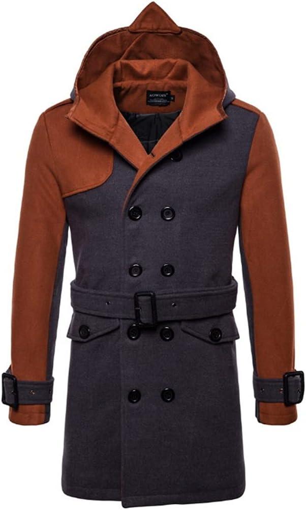 ZLDGYG British Style Long Windbreaker Jacket Sale Double Breasted Hooded Woolen Coat Men Winter Wool & Blends Belt (Color : Brown, Size : S)