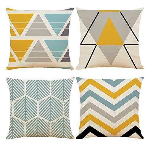 MUFENA Fundas de almohada geométricas de 45 x 45 cm,juego de 4 fundas de almohada suaves amarillas,grises,azules,45,7x45,7 cm,fundas de almohada para interiores y exteriores,para decoración del hogar