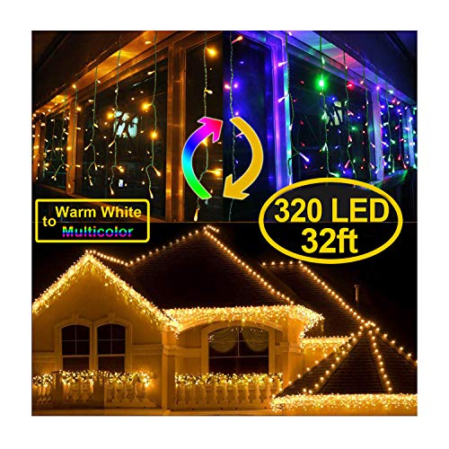 KNONEW Color Changing Icicle Lights Warm White to Multi Color with 9 Lighting Modes, LED Curtain Fairy String Icicle Lights for Christmas, Holiday, Wedding, Party Decorations (320 LED 33ft 64 Drops)