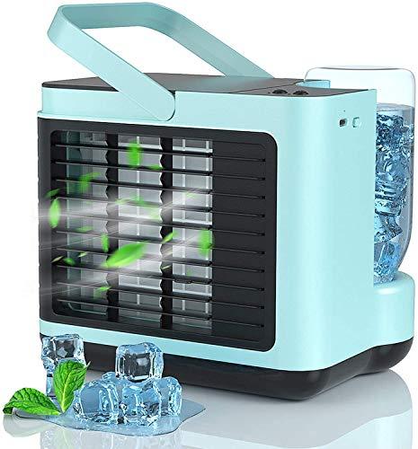 Aire Acondicionado Portátil Silencioso, 4 en 1 USB Mini Enfriador con 3 Velocidades Y LED Luz...