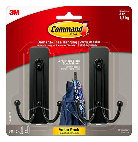 Command 17036MB-2ES Large Wall Hooks, 2 Pack, Matte Black Nevada