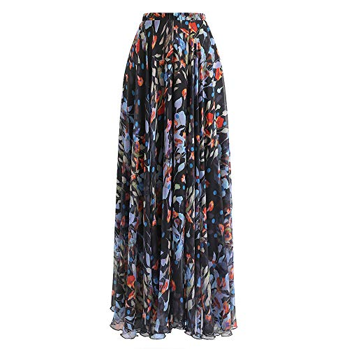 Chicwish Women's Black Blooming Calla Lily Floral Watercolor Chiffon Maxi Slip Skirt
