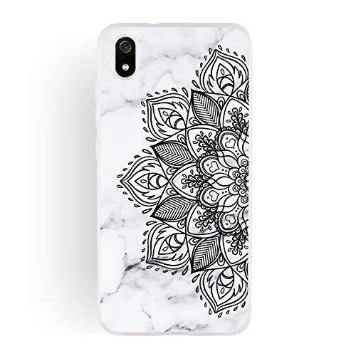 ChoosEU Compatible für Hülle Xiaomi Redmi 7A Hülle Silikon Muster Marmor Transparent Handyhülle für Mädchen Frau Mann, Dünn Durchsichtig Stoßfest Hülle Schutzhülle - Schwarze Blume