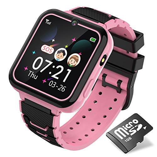 Kids Music Game Smart Watch,HD Touch Screen Wrist Smartwatch,Smartwatch Phone with Games MP3 Flashlight Camera Alarm Clock for Boys Girls Teen Students Children Toy Birthday Gift (Pink)