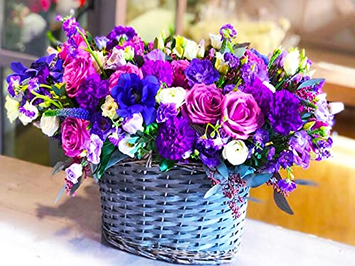 Simple flower diamond painting lilac flower diamond embroidery cross stitch vase rhinestone mosaic handmade kit A6 50x70cm