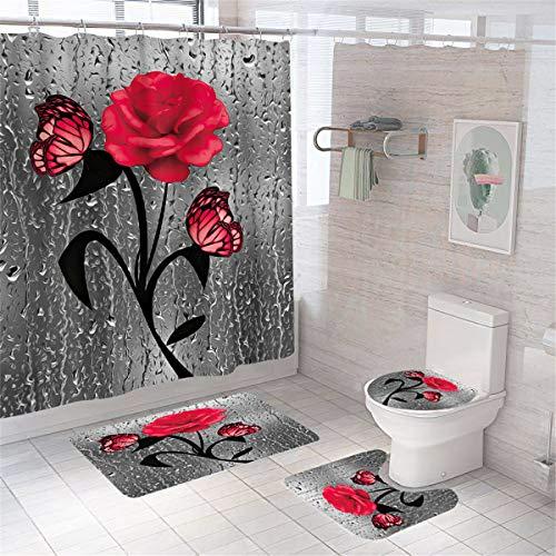 Cortina de ducha floral con diseño de mariposas, color rojo, con ganchos y ganchos de poliéster, resistente al agua, con alfombras antideslizantes