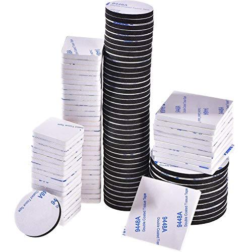 100 Piezas de Almohadilla de Espuma Adhesiva de Doble Cara Cinta Adhesiva Fuerte de Montaje, Cuadrado y Redondo, Blanco y Negro