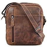 STILORD 'Quentin' Bandolera o Bolso de Mensajero pequeño de Cuero Vintage Bolsa de Hombro Cruzado de Hombre para Tablet o iPad de 10,1' de auténtica Piel, Color:Missouri - marrón