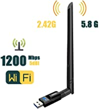 USB Wifi Adapter 1200Mbps QGOO USB 3.0 Wifi Dongle 802.11 ac WirelessNetwork Adapter with Dual Band 2.42GHz/300Mbps 5.8GHz/866Mbps 5dBi High Gain Antenna for Desktop Windows XP/Vista/7/8/10 Linux Mac