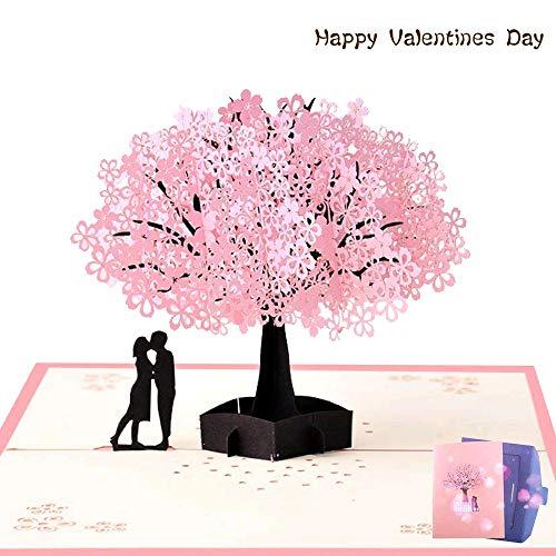 NACTECH Biglietto d'auguri 3D Pop up Carta Matrimonio Anniversario Biglietti Compleanno Amore per Moglie Fidanzata Regalo S.Valentino Invito di Nozze con Busta
