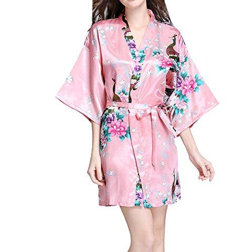 VILLAVIVI Vestido Párrafo Corto Mujer Kimono Pavo Flores Satén Albornoces Pijamas (XXL, Rosado)