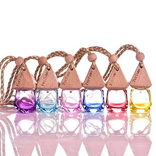 6 Pcs Perfume Bottles Car Essential Oil Diffuser, Empty Refillable Bottles Home Car Air Freshener, Glass Fragrance Container with Wooden Caps & Hanging String for Car and Home
