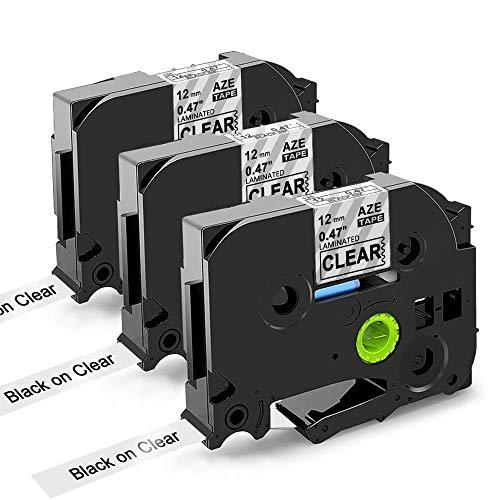 Oozmas kompatible Etikettenband als Ersatz für Brother P-touch TZe-131 Transparent Tape, kompatible für Brother P-touch D400 E100 H100lb H101c 1830, Schwarz auf Transparent, 12mm x8m, 3er-Pack