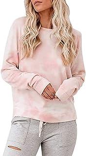 ESKNAS Women Pullover Tops Autumn Winter Tie-Dye Print Sweatshirt Casual Crewneck Long Sleeve T Shirt Blouse