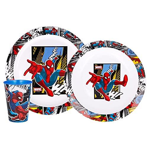 Generico Juego de papilla Spiderman Marvel, 2 platos + 1 vaso BPA Free para niño – SPI21/3 unidades