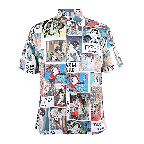 Hztyyier Camisas Hawaianas Florales para Hombre Camisas de Playa Estampadas con Botones Camisas Sueltas de Verano con Estilo Informal Camisa de Manga Corta(XXL-CE011007)