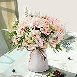 LESING Artificial Flowers with Vase Fake Silk Flowers in Vase Gardenia...