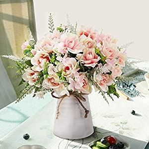 LESING Artificial Flowers with Vase Fake Silk Flowers in Vase Gardenia Flowers Decoration for Home Table Office Party