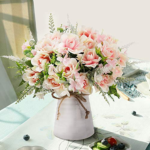 LESING Artificial Flowers with Vase Fake Silk Flowers in Vase Gardenia Flowers Decoration for Home Table Office Party (Pink)