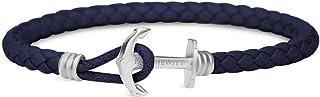 PAUL HEWITT Anker Armband PHREP Lite mit der Option Einer individuellen Wunschgravur - Lederarmband mit Anker Schmuck aus Edelstahl Schwarz | Silber