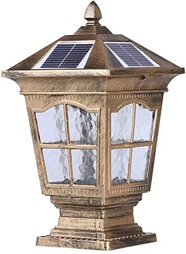 Suge Columna tradicional Victoria solar LED de la lámpara al aire libre IP55 a prueba de agua de la vendimia de cristal linterna pilar exterior Calle poste de luz lámparas de césped Puerta Clásica Pil