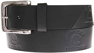 Harley-Davidson Men's Phantom Willie G Skull Belt, Black Leather HDMBT11040-BLK