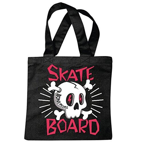 Tasche Umhängetasche Bone People Skull Skateboard Skateboardfahrer Longboard Skater Freestyle Einkaufstasche Schulbeutel Turnbeutel in Schwarz