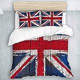 Juego de Funda nórdica, Bandera de Union Jack del Reino Unido de Grunged, Juego de Colcha para Adolescentes, niños, niños, 3 Piezas