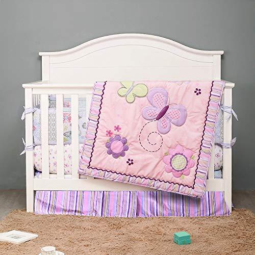 BAIGIO Juego de ropa de cama para bebé, 7 piezas, con faldón de cama, edredón de 80 x 100 cm, protector de cuna de algodón para bebé, juego de ropa de cama infantil OekoTex (rosa mariposa)