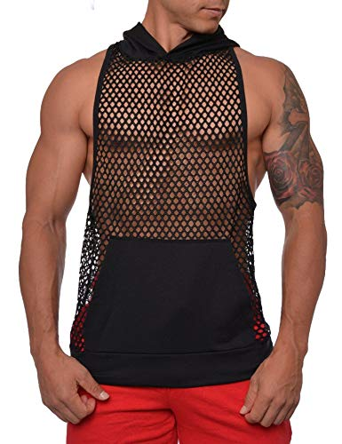 COOFANDY Mens Long Sleeves Muscle See Through Sexy Mesh Transparent Shirt with Hoodie,Black2,Large