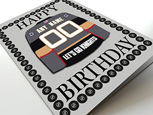 FanPlastic NHL NATIONAL Hockey League Themed Geburtstagskarten – jeder Name, Jede Nummer und jedes Team – kostenlose Personalisierung, Vegas Golden Knights Kühlschrankmagnet Geburtstagskarte