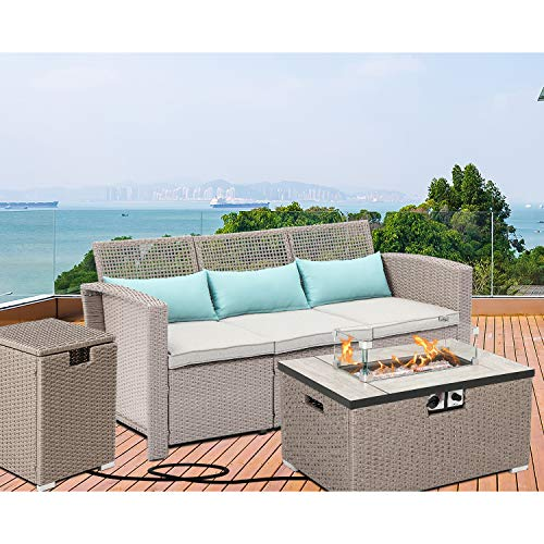 HOMPUS Outdoor 3-Piece Patio Furniture Set, PE Rattan Wicker Chairs, 40,000 BTU 32-inch x 20-inch Rectangle Warm Grey Fire Table with Glass Wind Guard and Tank Table for Garden, Pool, Backyard