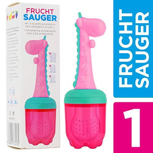 Fruchtsauger + Beißring Giraffe Gina für Baby & Kleinkind + 3 Silikon-Sauger - BPA-frei + Sterilisierbar - Schnuller für Obst Gemüse Brei Beikost Zahnen