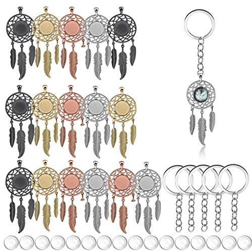 JIAYIQI 37PCS Pendant Trays 16Pcs Dreamcatcher Pendant Bezels 16Pcs Clear Cabochon Domes and 5 Keychains for Key Chain Photo Pendant Craft Jewelry Making with Storage Case